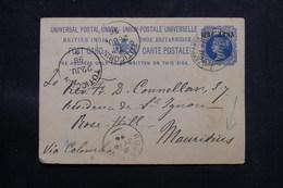 INDE - Entier Postal Type Victoria Surchargé, De Teppakulam Pour L 'Île Maurice En 1896 Via Colombo - L 59519 - 1882-1901 Empire