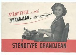 ECRITURE CALLYGRAPHIE STENOTYPE GRANDJEAN MACHINE A ECRIRE STENOGRAPHIE BUREAUTIQUE Dépliant Publicitaire - Advertising