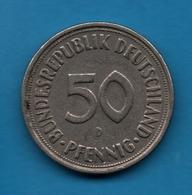 DEUTSCHLAND 50 PFENNIG 1950 D KM# 109 - [ 7] 1949-… : RFA - Rep. Fed. Alemana