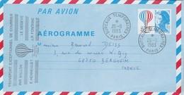 Entier Aérogramme Transport Exceptionnel Courrier Par Ballon Le Megeve Cachet Paris 26/6/1983 Verso Crécy La Chapelle - Entiers Postaux
