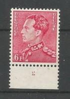 OCB 848 A ** Postfris Zonder Scharnier Met Plaatnummer 2 Op Velrand Is Er Spoor Van Scharnier - 1936-1951 Poortman