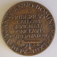 Vatican Medaille En Bronze Sede Vacante 1963 Frederick Callori Opus Savelli - Royaux/De Noblesse