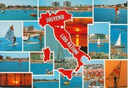 450 COMACCHIO - LIDO NAZIONI - VEDUTINE MULTIVUES - CARTINA GEOGRAFICA ITALIA - VIAGGIATA 1986 - Italia