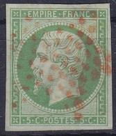 1853-1860 Napoléon III   N°12    Aminci En Haut à Gauche - 1853-1860 Napoléon III