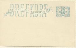 SUEDE SWENDEN Entier Postal De 1887 STOCKHOLM  STOCKHOLMS - Emissions Locales