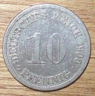 N°10 MONNAIE ALLEMANDE 10 PFENNIG 1900D - [ 2] 1871-1918 : Impero Tedesco