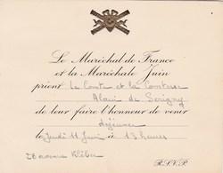 CARTON INVITATION LE MARECHAL DE FRANCE ALPHONSE JUIN ET LA MARECHALE JUIN POUR LE COMTE ALAIN DE SERIGNY - Documents Historiques