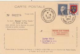 Cachet Festival JS Bach PRADES Pyrénées Orientales 2/6/1950 Carte Avec Sonnet à Pau Casals Pablo Casals - Música