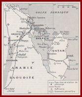 Carte Des îles Bahreïn. Qatar. Pipeline Et Station De Pompage, Route, Raffinerie, Gisement Pétrolifère. Larousse 1960. - Documents Historiques