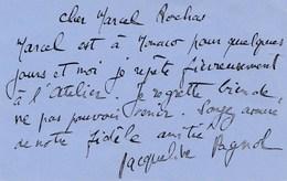 L.A.S  JACQUELINE PAGNOL PARLE DE MARCEL PAGNOL ADRESSER A MARCEL ROCHAS AUTOGRAPHE DEDICACE - Documents Historiques