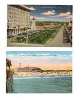 2 Different PENSACOLA, Florida, USA, Palafox Street And Stores & The Casino, Old Linen Postcards - Pensacola