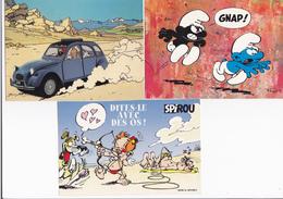 Lot 12 Cp - BD - Tintin ( 3 Cp ), Blake Et Mortimer , Gaston ,spirou ,schtroumpf , Hagar Etc... - Bandes Dessinées