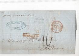 Entier Postal - Frankrijk - Bordeaux - 1853 - Indes Or. Marseille - Bombay Cursetjee & Co. - Entiers Postaux