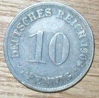 N°21 MONNAIE ALLEMANDE 10 PFENNIG 1908D - [ 2] 1871-1918 : Impero Tedesco