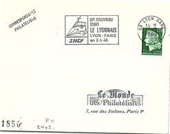 CHEMIN DE FER - SNCF 1969 UN NOUVEAU TRAIN LE LYONNAIS LYON-PARIS EN 3H45 - LYON 7.3.1969 / 1 - Gedenkstempels