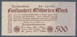 Pick127b  Ro124d  DEU-152b - 500 Milliard Mark 1923 ** UNC- ** - [ 3] 1918-1933 : Repubblica  Di Weimar