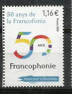 La Francophonie.Organisation Internationale De La Francophonie. 50 Ième Anniversaire, Un Timbre Neuf ** 2020 - Französisch Andorra