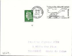 CHEMIN DE FER - VACANCES 70 TRAINS-AUTOS = SECURITE-CONFORT - NANTES 8.6.1970   / 1 - Gedenkstempels