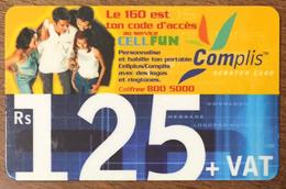 ÎLE MAURICE MAURITIUS CELLFUN COMPLIS 125 RS PHONE CARD PAS TELECARTE CARTE TÉLÉPHONIQUE PRÉPAYÉE - Mauritius