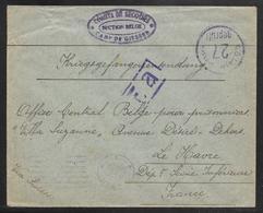 Belgium / Germany - 1918 Prisoner Of War / Comite De Secours Cover - Giessen Camp To Le Havre - Storia Postale