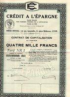 Contrat De Capitalisation Du Crédit à L'Épargne Situé 11 Pl Bellecour Lyon (69) - Banque & Assurance