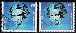 Bund 2020,Michel# 3513, 3520 O 250. Geburtstag Von Ludwig Van Beethoven Nass- Und Selbstklebend - Gebraucht
