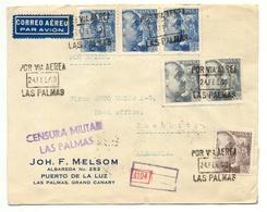 Puerto De La Luz, Las Palmas 1940 Nach Chemnitz, Brief, Zensur, Flugpost, Ohne Inhalt - 1931-50 Briefe U. Dokumente