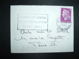 LETTRE MIGNONNETTE TP MARIANNE DE CHEFFER 0,30 OBL.MEC.24-2 1968 62 ARRAS GARE RECENSEMENT GENERAL DE LA POPULATION - 1967-70 Marianne Van Cheffer