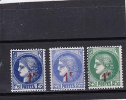 FRANCE 1940-41  NEUF**  N° 486 487 488 - France