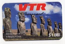 CHILI  Recharge VTR 1000$ ILE DE PAQUES DATE 1996 1000EX MINT - Chile