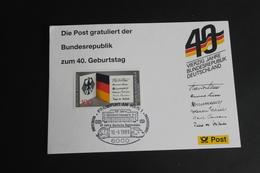 40 Jahre Bundesrepublik Deutschland; Maximumkarte Der POST; SST Frankfurt - Cartes-Maximum (CM)