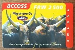 RWANDA MTN RWABDACELL FRW 2500 RECHARGE GSM SANS CODE CARTE PRÉPAYÉE PAS TÉLÉCARTE PHONECARD - Rwanda