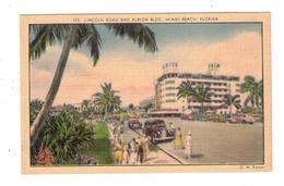 MIAMI BEACH, Florida, USA, Art Deco Albion Hotel & Lincoln Road, Old Linen Postcard - Miami Beach