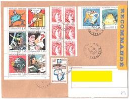 LE VESINET Lettre Recommandée 2° Ech R3 1,60F Sabine Rouge Roulette 25c Coopération Carnet 1988 Yv 1981B 1432 2503 2509 - Lettres & Documents