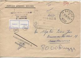 REF1094/ Omslagbrief 'Forces Armées Belges' C.Brugge 13/10/75 > BXL Terug 8000 Brugge Label Onbekend - Militärpost