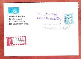 Einschreiben Reco, Foto Greiss, Schloss Ahrensburg, Leverkusen Nach Waldshut-Tiengen 1986 (93569) - Lettres & Documents