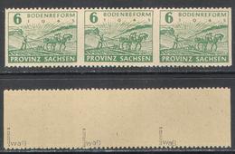 3220.2 ✅ Agrarian Reform WWII WW2 Soviet Occupation Local Province Saxony 1945 Germany 1v X3 Mi.85waB MNH ** - Soviet Zone