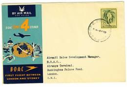 Australia - Sydney - Primo Volo Londra - Sydney - B.O.A.C. Comet 4 Jetliner - Anno 1959 - 1952-65 Elizabeth II : Pre-Decimals