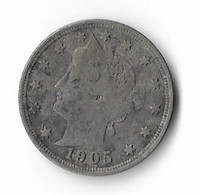 L-295   USA= 1905   LIBERTY NICKEL  5  CENTS - Federal Issues