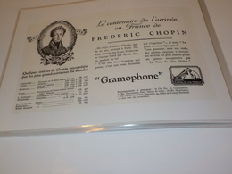 ANCIENNE PUBLICITE CENTENAIRE FREDERIC CHOPIN GRAMOPHONE PATHE 1931 - Other