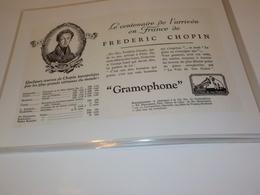 ANCIENNE PUBLICITE CENTENAIRE FREDERIC CHOPIN GRAMOPHONE PATHE 1931 - Música & Instrumentos