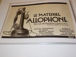 ANCIENNE PUBLICITE LE MATERIEL  ALLOPHONE  1920 - Téléphonie