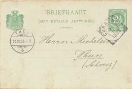 Curacao - 1893 - 2,5+ 2,5 Cent Cijfer, Briefkaart G10 Van Curacao Naar Thun / Schweiz - Curaçao, Nederlandse Antillen, Aruba