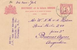 Curacao - 1916 - 5 Cent Cijfer, Briefkaart G23 Van Curacao Naar Buenos Aires / Argentina - Curaçao, Antilles Neérlandaises, Aruba