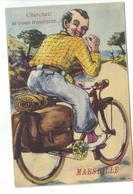 CPA 13 MARSEILLE Carte à Système Fantaisie Dépliant Vues Humour Vélo Homme Cycliste Pas Courante - Non Classés