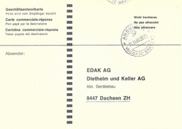 Geschäftsantwortkarte  Le Sentier - Dachsen  (Bahnstempel Vallorbe - Brassus)        1966 - Chemins De Fer