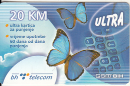 BOSNIA - Butterflies, BH Telecom Prepaid Card 20 KM, Exp.date 19/07/06, Used - Bosnie
