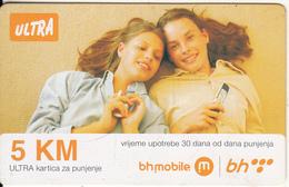 BOSNIA - 2 Girls, BH Telecom Prepaid Card 5 KM, Exp.date 12/06/11, Used - Bosnia