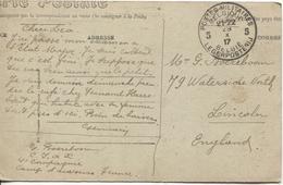 REF1095/ CP Camp D'Avours Soldats Musiciens En SM écrite Militaire C.J.A.X 4°Cie Auvours  C.PMB-BLP 5 29/10/17 > England - Weltkrieg 1914-18