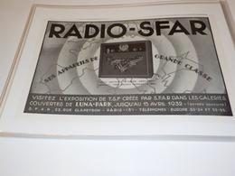 ANCIENNE  PUBLICITE RADIO SFAR 1931 - Other